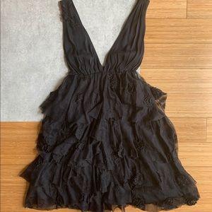Alice + Olivia Plunging V-neck Black Lace Dress